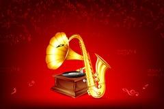 Gramófono y saxofón Fotos de archivo