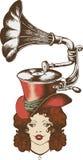 Gramófono y señora agradable stock de ilustración