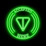 GRAM TON accepted here sign. GRAM TON green  neon cryptocurrency symbol in round frame with text `Accepted here Royalty Free Stock Images