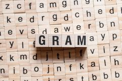 Gram word concept royalty free stock photography