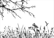 Grama & árvore/silhueta do vetor