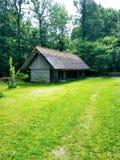 Grama, casa, floresta afastado e dia ensolarado fotografia de stock