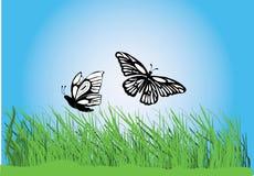 Grama com borboletas ilustração stock