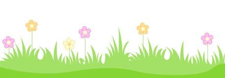 Grama com flores da mola ilustração do vetor