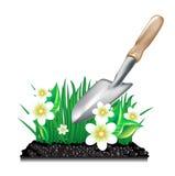 Grama com terra e trowel de jardim ilustração royalty free