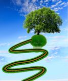 Grama da estrada e uma rendição só da ecologia -3d da árvore Fotos de Stock