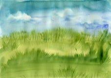 Grama de prado e céu azul Fotografia de Stock Royalty Free
