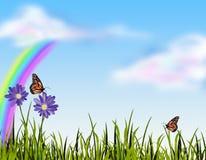 Grama e borboletas ilustração stock