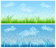 Grama e chuva ilustração do vetor