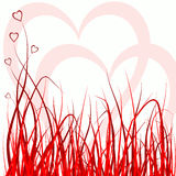 Grama e corações Fotografia de Stock Royalty Free