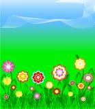 Grama e flores coloridas sobre o céu azul Imagem de Stock