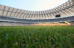 Grama nova em um estádio de futebol Imagem de Stock Royalty Free