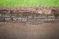 Grama real e diversas camadas subterrâneas do solo