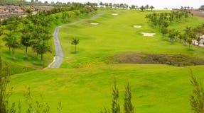 Grama verde do golfe de Gran Canaria Meloneras Foto de Stock