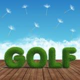 Grama verde do golfe em uma placa de madeira Fotos de Stock