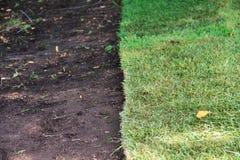 Grama verde do sod e terra marrom fotos de stock royalty free