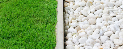 Grama verde e pedra Fotos de Stock