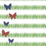 A grama verde simples verde listra a vegetação do chá do frescor do cartão com as borboletas vermelhas e azuis verticalmente com  ilustração do vetor