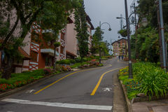 GRAMADO,巴西- 2016年5月06日:有很多植物和树的精密不规则的街道在边路 库存图片