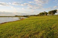 Gramado ao longo do lago a relaxar Foto de Stock