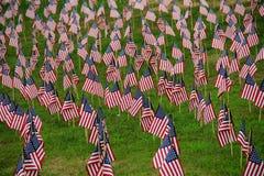 Gramado coberto em bandeiras americanas pequenas Fotografia de Stock Royalty Free