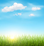 Gramado da grama verde com nuvens e sol no céu azul Imagem de Stock