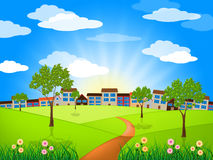 Gramado de Sun Sunny Indicates Green Grass And Fotos de Stock Royalty Free