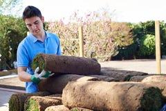 Gramado novo de Laying Turf On do jardineiro de paisagem fotografia de stock royalty free