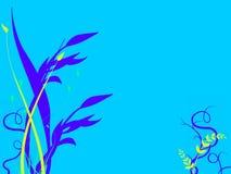 Gramas subaquáticas que crescem na cama do oceano do mar ilustração stock