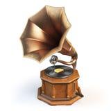 Gramófono del vintage en blanco Imágenes de archivo libres de regalías
