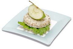 Gramineae Crispbread with Salad leaves and apple Royalty Free Stock Image