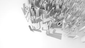 Grammar. White 3d surface lettering abstract illustration, horizontal Stock Image