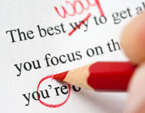 Grammar. Proofreading a paper to correct for mistakes in grammar, spelling and punctuation