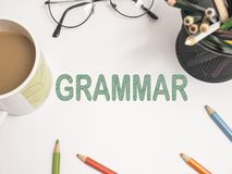 Grammar, Educational Linguistic Words Quotes Concept. Grammar, educational English linguistic business motivational inspirational quotes, words typography royalty free stock photography