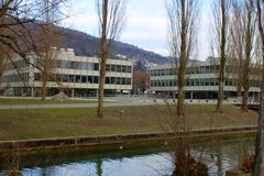 Grammar school of Biel - Bienne at the lakeside royalty free stock images