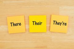 There, their, they`re on three sticky notes on textured desk wood. Grammar of  there, their, they`re on three sticky notes on textured desk wood royalty free stock photography