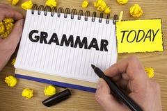 Grammatik för ordhandstiltext Affärsidé för system och struktur av regler för en handstil för språk som korrekta riktiga är skrif Arkivbild