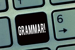 Grammatik för textteckenvisning Hel system för begreppsmässigt foto och struktur av språket eller av språk i allmänhet arkivfoto