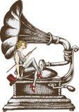 Grammofon и певица кабара иллюстрация вектора