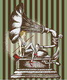Grammofon и певица кабара иллюстрация штока