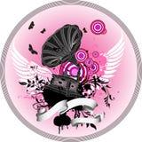 Grammofon con las alas Stock de ilustración