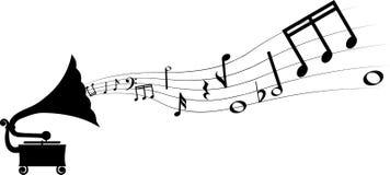 Grammofon och melodi stock illustrationer