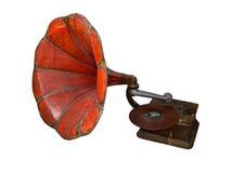 Grammofono antico rosso Fotografie Stock Libere da Diritti