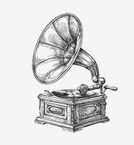 Grammofono d'annata disegnato a mano Musica di schizzo Illustrazione di vettore Fotografia Stock Libera da Diritti