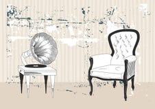 Grammofono e poltrona royalty illustrazione gratis