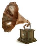 Grammofono su priorità bassa bianca Immagini Stock