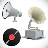 Grammofoon, megafoon, vinylverslag Stock Fotografie