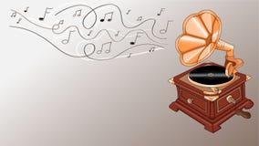 Grammofoon met nota's vector illustratie
