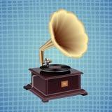 Grammofoon op een blauwe achtergrond stock illustratie