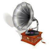 Grammofoon op witte achtergrond wordt geïsoleerd die royalty-vrije illustratie